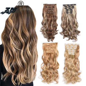 ZM Girl Long Curly Wavy Hairpieces 6pcs/Set 16 Clips In On Synthetic Hair Extensions Brown Blonde For Women Heat Resistant Ombre