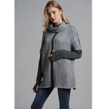 Contrast Color Turtleneck Sweater Women Winter Full Sleeve Jumper Knitted High Street Sweaters Female Pullover Top E1900 цены