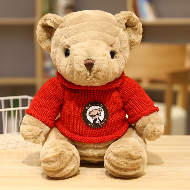 Teddy Bear Plush Toys Stuffed Animal Pillow Soft Doll Scarf Sweater Bear Plushie Birthday Valentines Day Gifts For Kids Just6F