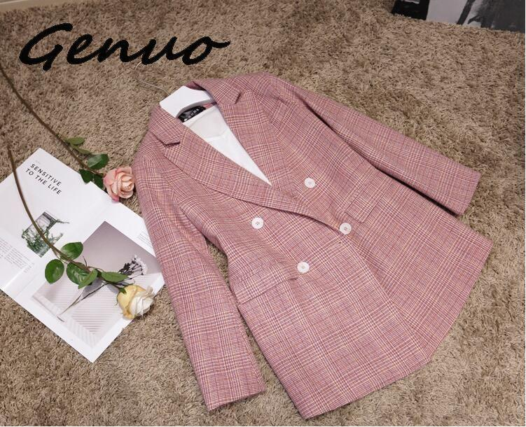 Genuo New 2019 Plaid Notch Collar Long Sleeve Double-breasted Pocket Loose Suit Slim Fit Casual Chic Blazer