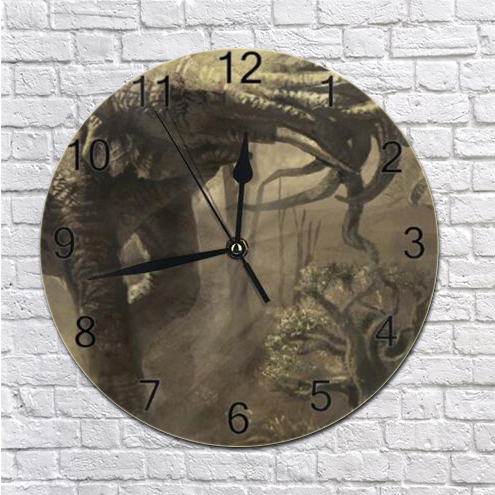 Round Wall Clock Elephant Numeral Digital Dial Mute Silent Digital Clock Battery Operated Wall Decor Clocks For Bed Room Kicthen