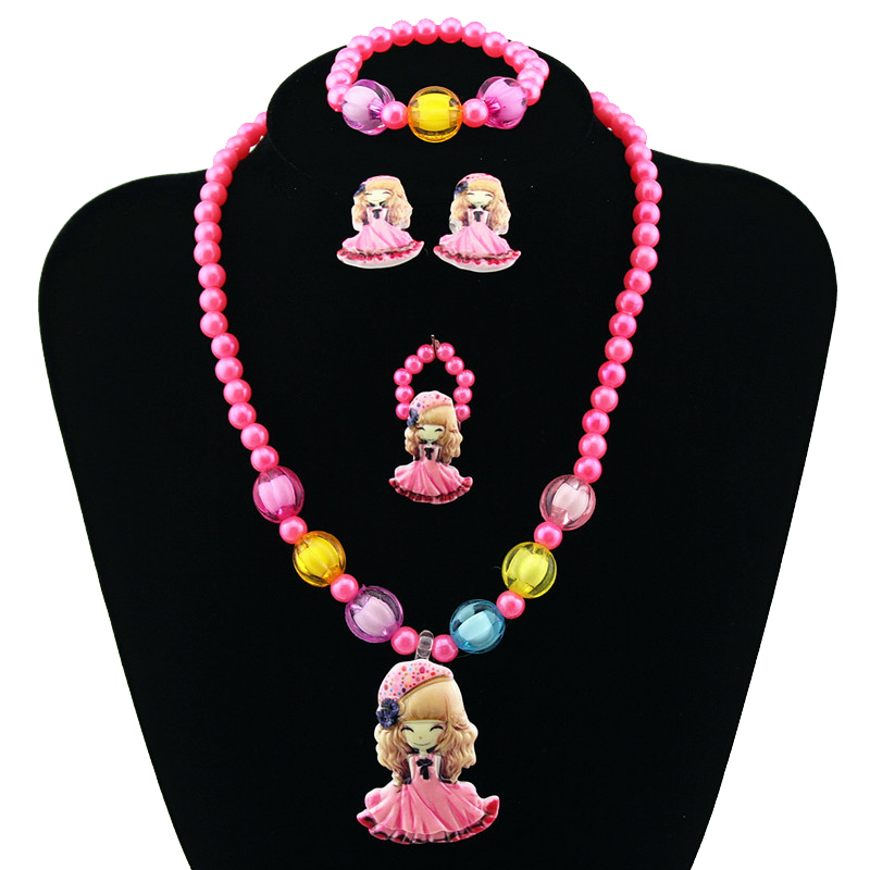 Candy Beads Resin Plastic Kids Jewelry Set for Children Princess Pendants Cute Necklace Bracelet Ring Earring Baby Jewelry Gift