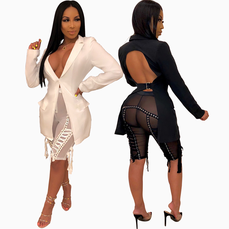 Fashion Blazer Women Backless Long Sleeve Women Blazers And Jackets Outerwear Tops Deep V-neck Party Night Clubwear