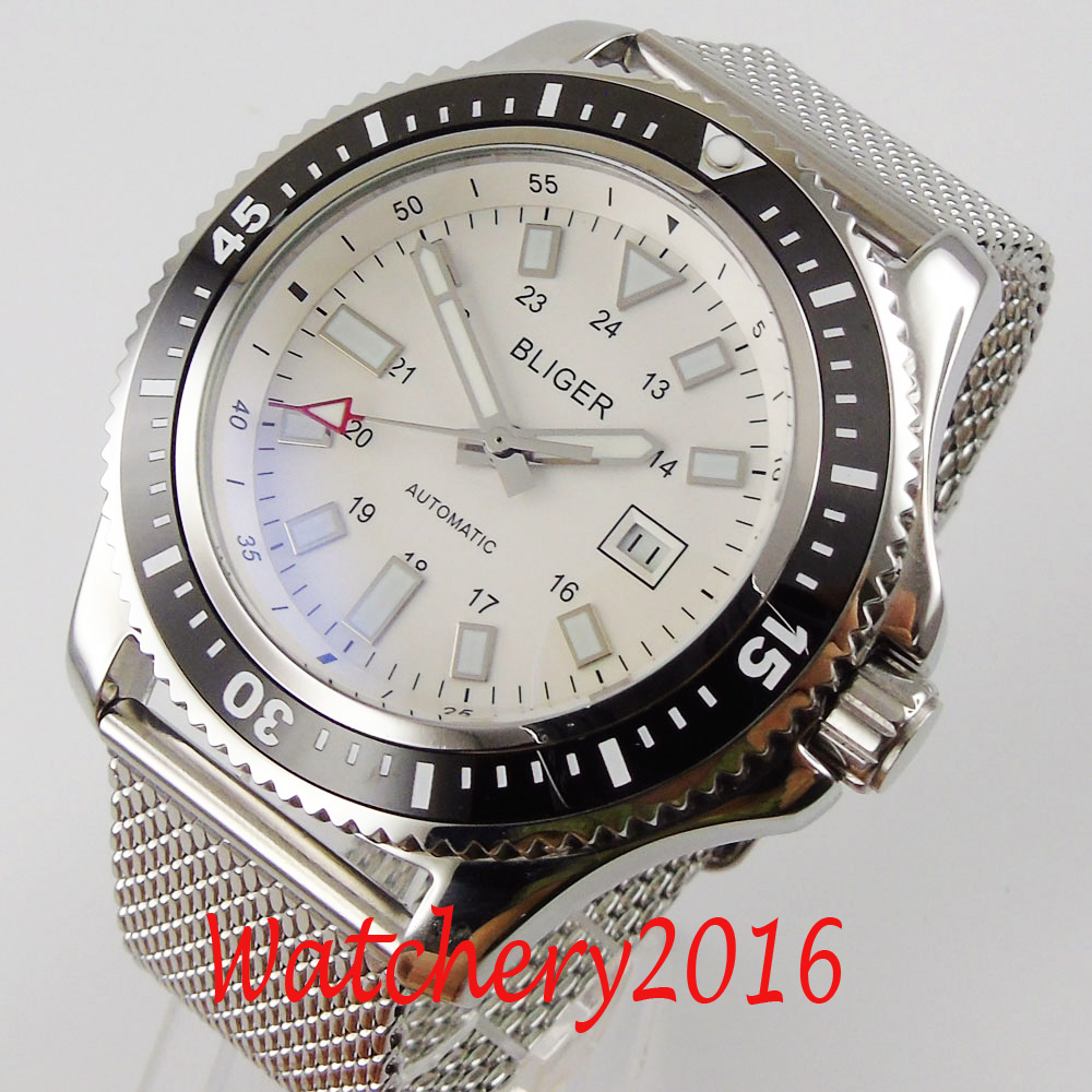 44mm BLIGER white Dial Stainless steel Case Luxury Brand Luminous Date21 jewels Miyota Automatic Movement men's Watches