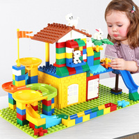2019 Kids Toys Bricks 174pcs Xmas Gift Juguetes Brinquedos Compatible Animals House Ball Tracks Legoed Duplo Blocks for Children