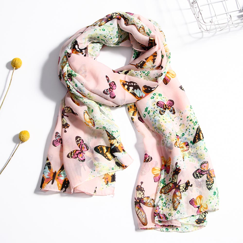 Elegant Women Scarf Wrap Long Butterfly Print Chiffon Ladies Shawl Large Silk Scarves Pink Landscape Print Scarf Shawl Dual Use