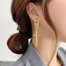 Металлические висячие серьги полые с золотым крестом женские