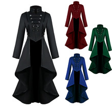 Mediaeval Royal Court Dress Vintage Gothic Claret Fake Jacket&Coat Men Prom Swallowtail Coat Halloween women or man Costume(China)