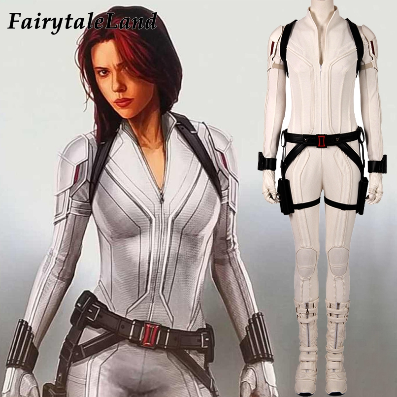 2020 Film Cosplay Black Widow White Costume Adult Halloween Costumes For Women Natasha Romanoff White Suit Sexy Jumpsuit