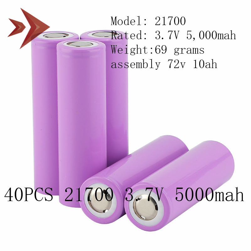 40pcs 21700 Lithium Cells 3.7v 5000mah Lithium Ion Battery For Assembly 72V 10ah 20ah Ebike Bicycle Lithium Battery Pack