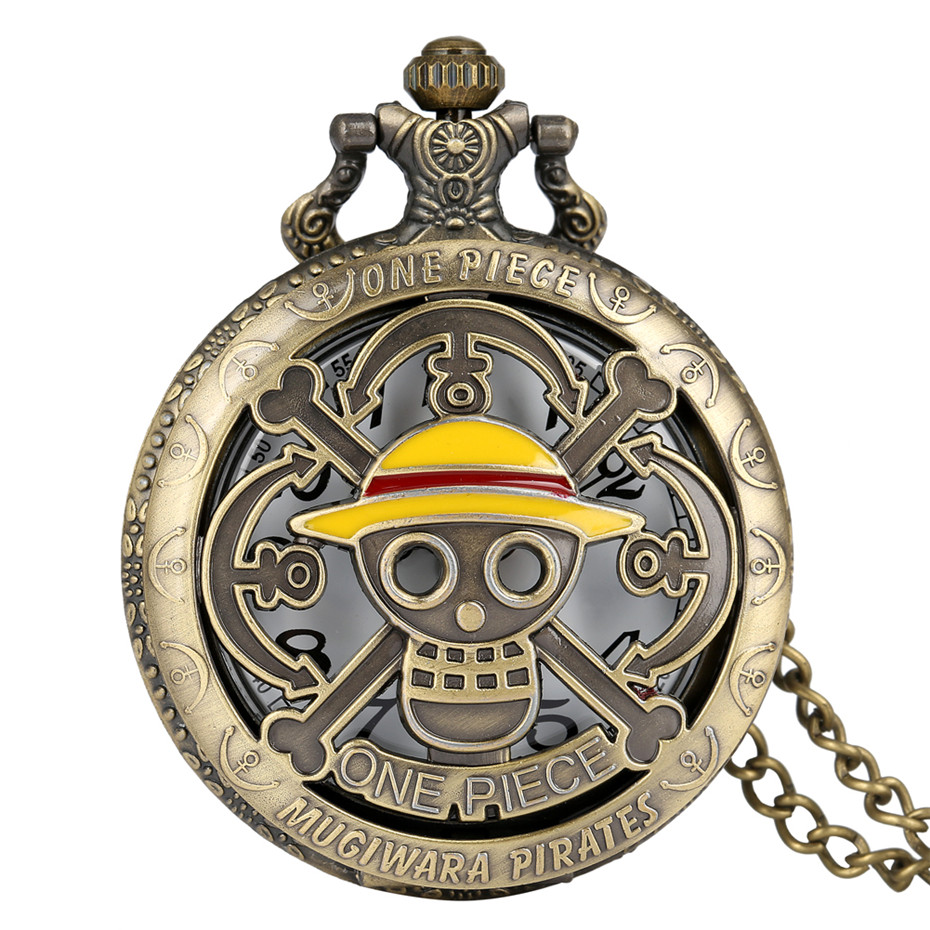 Hot Anime ONE PIECE Theme Luffy Hats Quartz Pocket Watch Bronze Pendant Necklace Clock Best Gifts For Students Men Women
