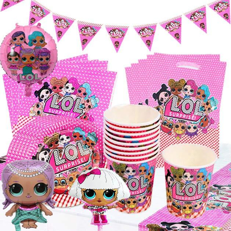 LOL Cartoon Doll Children's Birthday Party Dress Up Disposable Paper Cup Paper Plate Knife Fork Straw Balloon Children Surprise