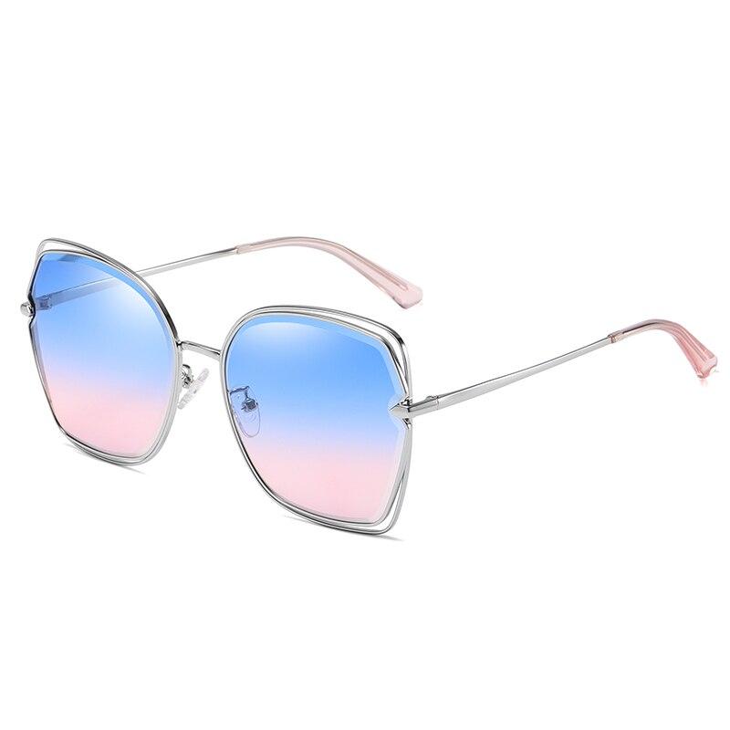 Gradient sunglasses women big box trend high quality vintage fashion glasses brand design sun two-color
