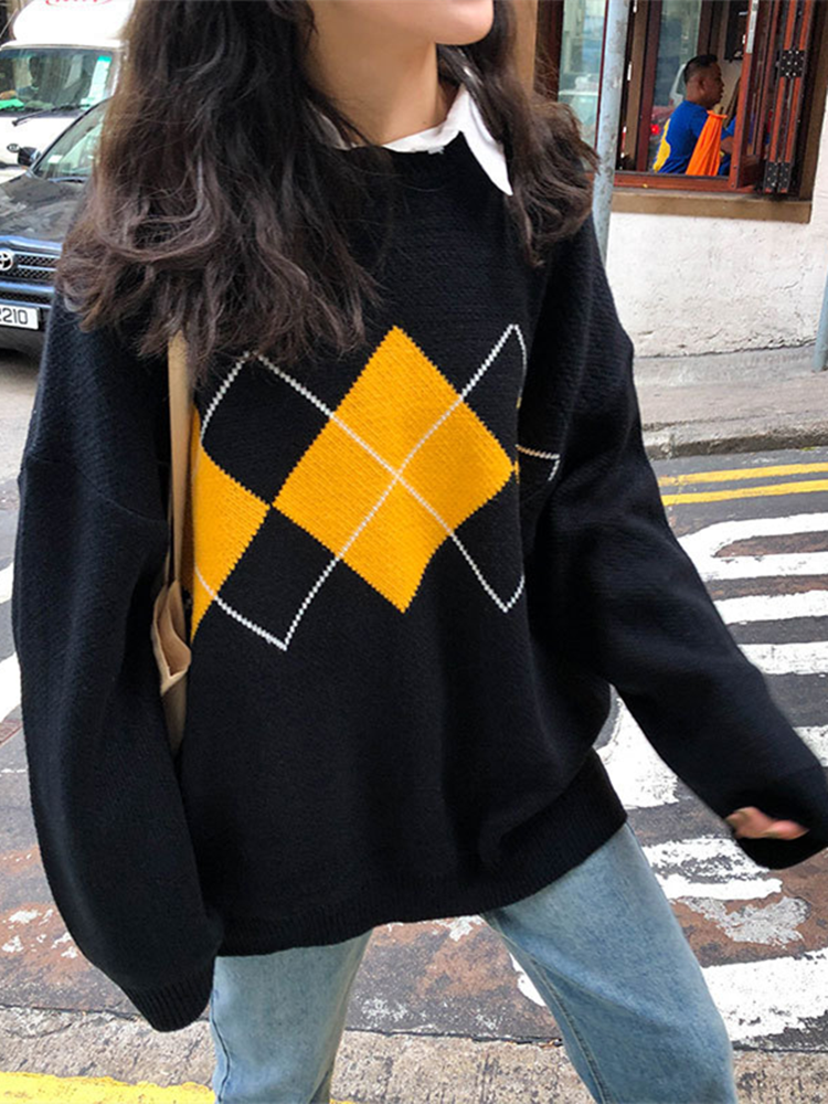 Knitted Sweaters Pullovers Argyle Woman Jumper O-Neck Geometric-Pattern Loose College-Style