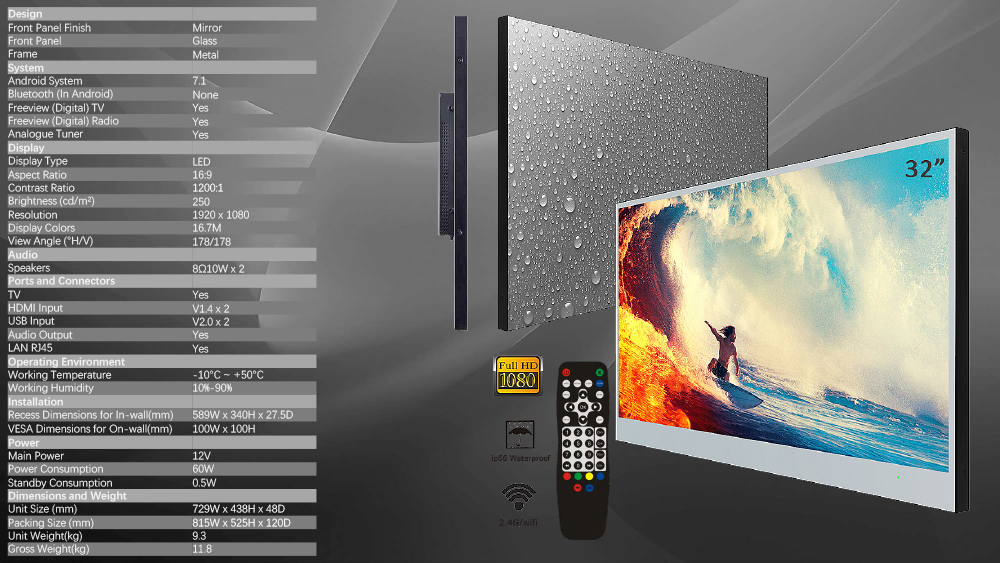 Souria Velasting 32 inch Big Screen Full HD Android 7.1 Smart Bathroom Hotel Advertising LED TV IP66 Waterproof