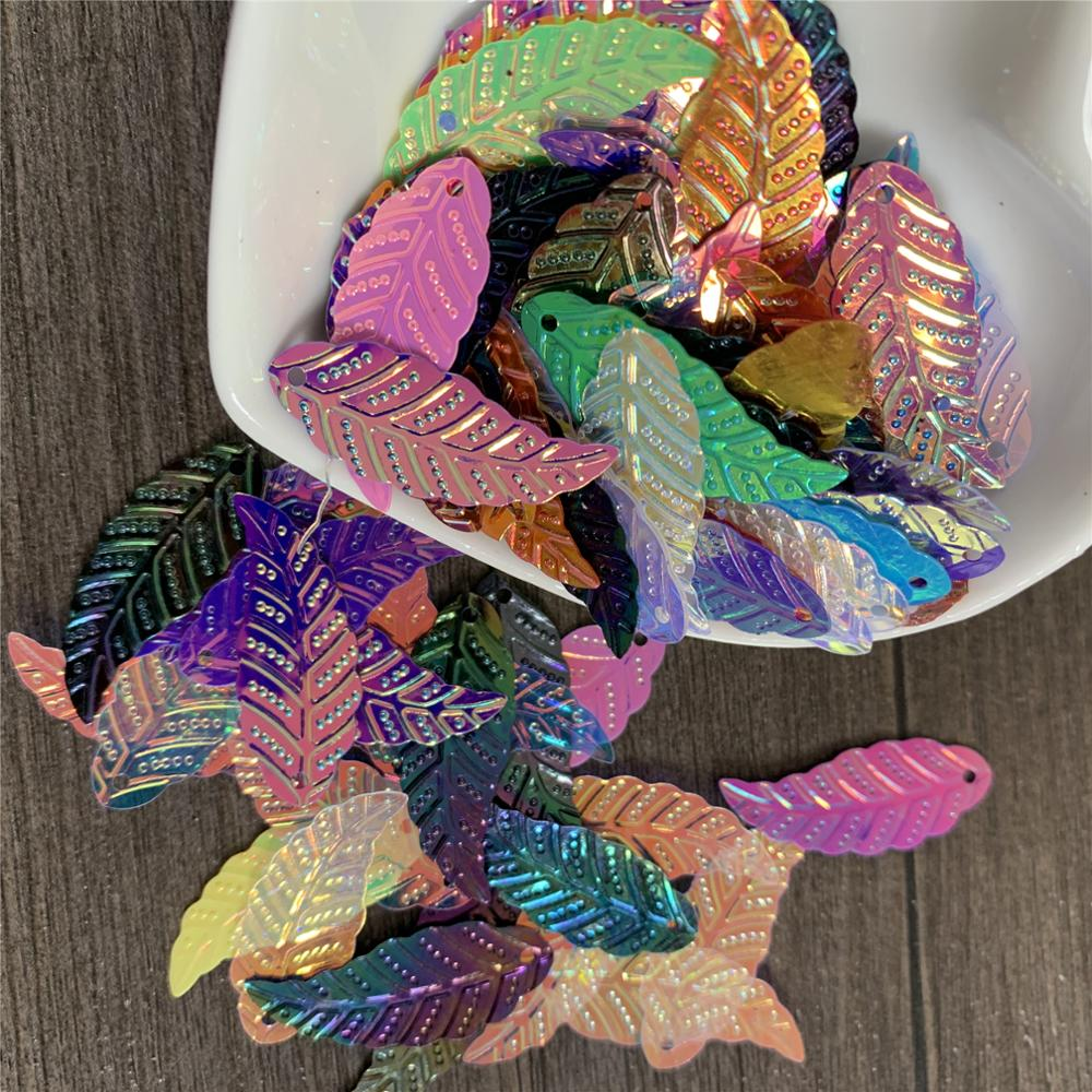15g Loose Sequins 11*29 Leaves Sequins Pvc Sequins Clothing Accessories For Handmade Toy Decoration Wedding Auditorium Layout