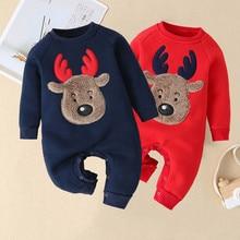 Осенне-зимний детский комбинезон; Рождественский комбинезон с оленем и медведем для маленьких мальчиков и девочек; теплый рождественский комбинезон; коллекция года; Новогодняя одежда для новорожденных