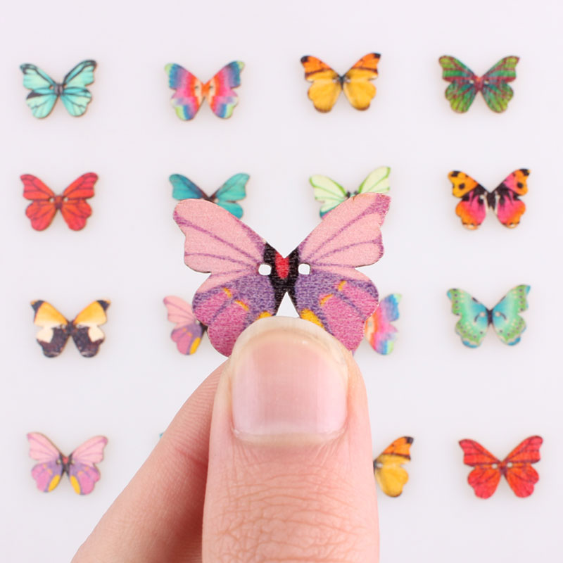 Pretty Butterfly 2Hole Wooden Mixed Buttons Christmas DIY Decor Child Clothes Sewing Buttons Crafts Scrapbooking Accessories E