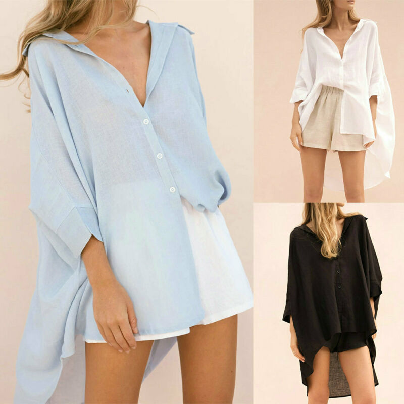 Hirigin Fashion Women Long Sleeve Buttons Shirt Asymmetrical Long Blouse Casual Solid Loose V Neck Cover Up Summer Streetwear