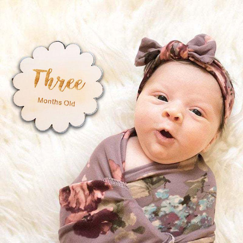 12 Pcs/set Nordic Style Baby Birth Month Number Birthday Commemorative Newborn Full Moon Photography Props Milestone Card