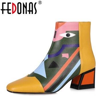 FEDONAS moda marka kobiety kostki zimowe ciepłe wysokie obcasy damskie buty kobieta szpilki na wesele podstawowe buty z prawdziwej skóry