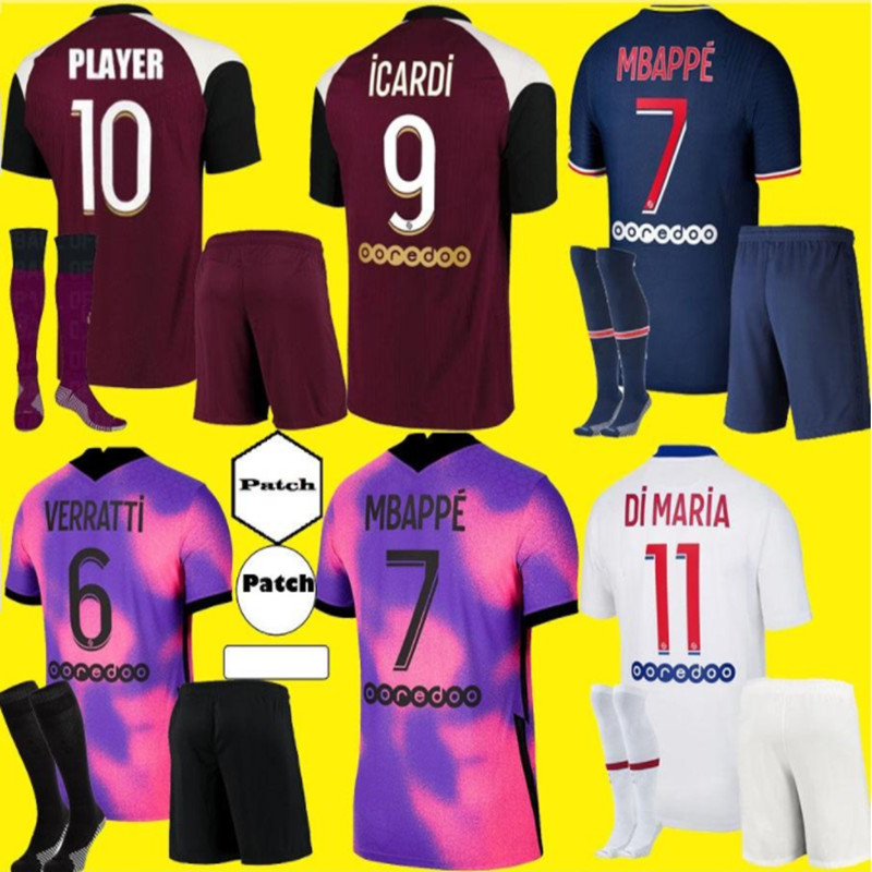 Top qualidade 2020-21 psges adultos kit verratti neymar jr de maria florenzi uan bernat verratti kimpembe 2021 adultos camisa