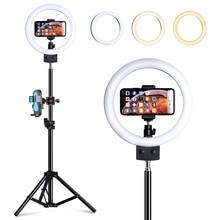 Anillo de luz LED de escritorio con enchufe USB y soporte para trípode, anillo de luz regulable Vertical de 9 pulgadas con trípode para YouTube, vídeo en vivo, estudio de fotografía