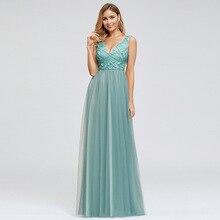 Lake Blue Elegant Evening Dress V Neck Sleeveless A Line Floor Length Tulle Women Wedding Party Formal Gowns Dresses