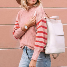 Модный осенне-зимний свитер в полоску с принтом, женская блузка с длинным рукавом, топы, высокое качество, повседневный Однотонный женский вязаный свитер