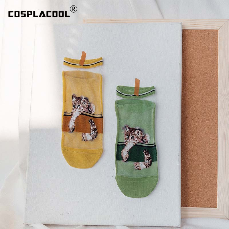 Transparent Embroidery Animal Funny Socks Ankle Ultra-Thin Lace Glass Socks Women Silk Sexy Design Cartoon Harajuku Crew Sokken