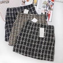 Черная твидовая юбка, Осень-зима, Женская Корейская элегантная клетчатая юбка Jupe Femme, милые женские короткие мини юбки трапециевидной формы