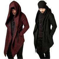 Steampunk Men Gothic Male Hooded Irregular Red Black Trench Vintage Mens Outerwear Cloak Fashion Trench Coat Men 7479