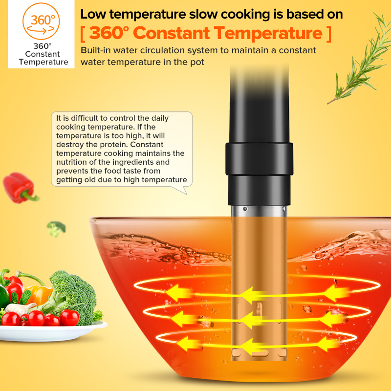 1800W Sous Vide Cooker Thermal Immersion Circulator Machine with Large Digital LCD Display Time and Temperature Control 3