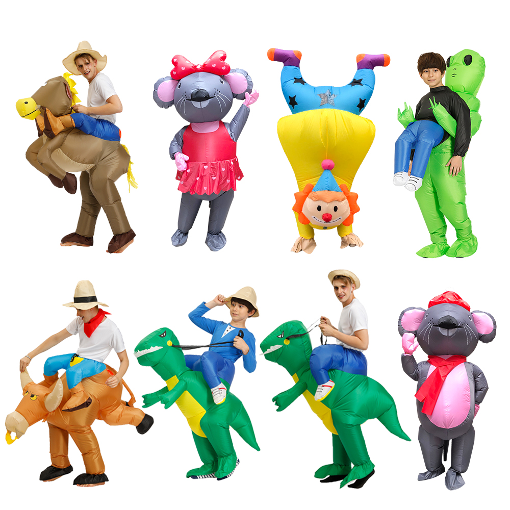 Hot Inflatable Clown Costume Woman Cosplay  Fan Operated Adult Kids Halloween Animal Costumes Dinosaur Rider T-Rex Fancy Dress