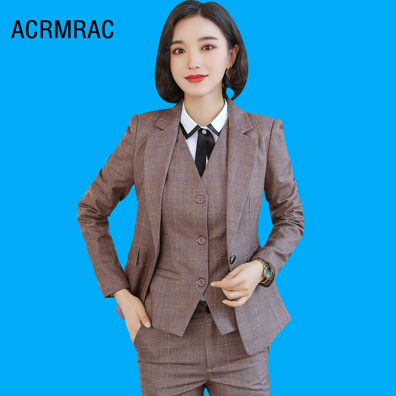 Women Suits Slim Autumn Winter Plaid Jacket Pants 2-piece Set OL Formal Business Women Pants Suits Woman Set Suits 8253