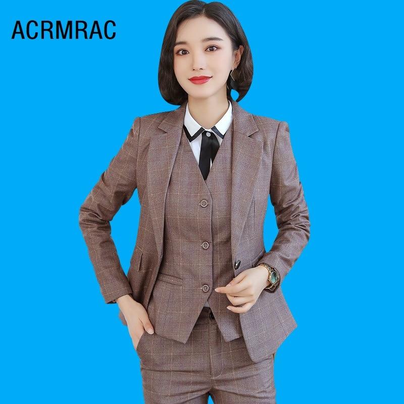 Women Suits Slim Autumn Winter Plaid Jacket Pants 2-piece Set OL Formal Business Women Pants Suits Woman Set Suits 8253