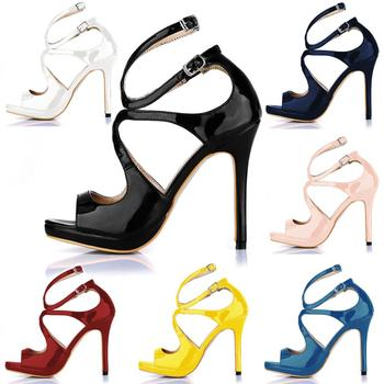 CHMILE CHAU Sexy Elegant Party Shoe Women Peep Toe High Heels Ankle Strap Lady Sandals Zapatos Mujer Plus Sizes 10.5 0640A-5b