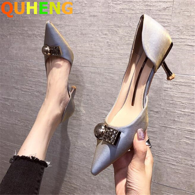 New Women's High Heels Luxury High Quality Silk Pointed Fine Heel Single Shoes Silver Pearl Decoration Sexy Ladies Dress Shoes