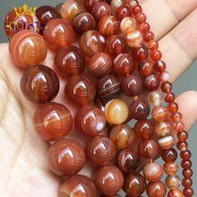 Perles rondes en agate striée rouge Orange foncé, pour la fabrication de bijoux, boucles d'oreilles, accessoires 15 ''4/6/8/10/12mm