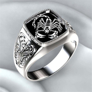 Modyle Top-quality Gothic Style Punk Scorpion Male Retro Ring Scorpion Pattern Rings For Men Jewelry(China)