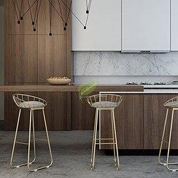 Sederhana Bar Stool Besi Tempa Bar Kursi Bangku Bar Tache De Bar Emas High Stool Modern Kursi Nordic Emas furniture