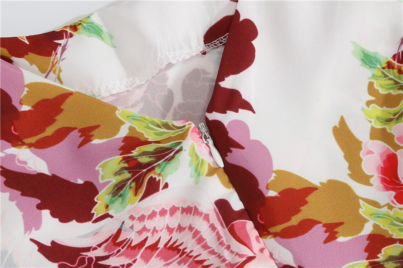 Summer Floral Print Elegant A-line Party Dress Women Slim White Short Sleeve Swing Pin up Vintage Dresses Plus Size Robe Femme 83