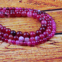 Rose Red Agate Natural Stone Bead Round Loose Spaced Beads 15 Inch Strand 6/8/10/12mm For Jewelry Making DIY Bracelet