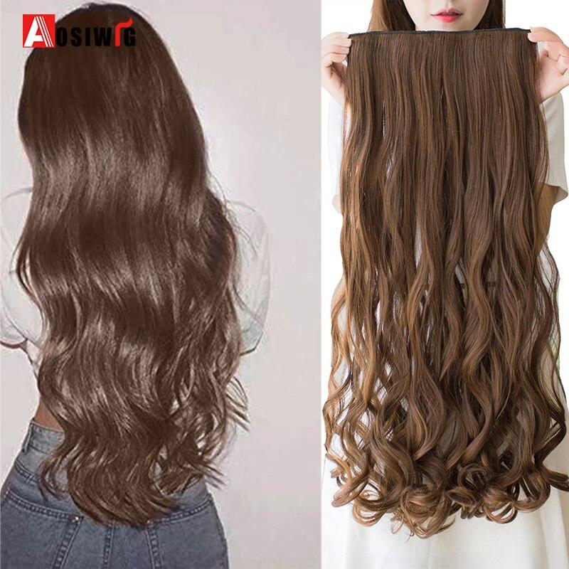 AOSI длинные волнистые заколки для наращивания волос Синтетические черные коричневые термостойкие для женщин шиньоны 40 см 50 см 60 см 80 см 100 см
