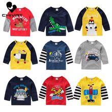 2020 Spring Summer Kids Boys T Shirt Dinosaur Cartoon Print Long Sleeve O-neck Baby Girls T-shirts Tops Cotton Children T-shirt cartoon tattoo man print round neck long sleeve t shirt