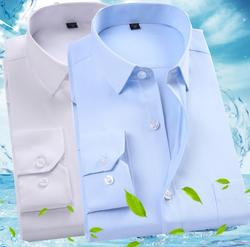2020 New  men's formal wear long-sleeved shirt em8 cotton  solid male  suitable  business shirt white blue KKJ321-1-7