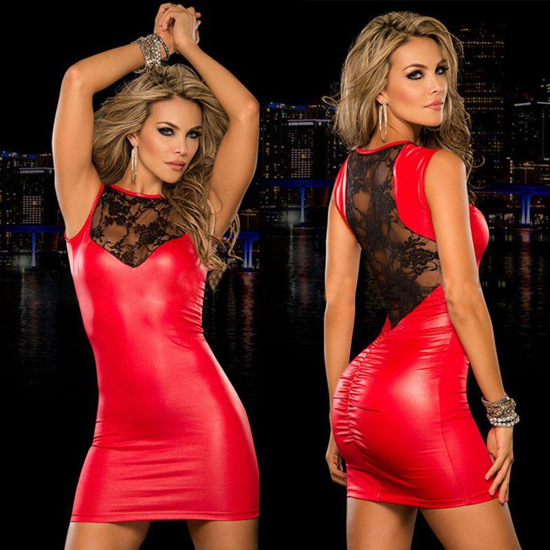 Charmed Porn Sexy Womens Fetish Latex Dresses Sleeveless Lace Patchwork Leather Lingerie Nightclub Vestidos Sexi Erotico Wy*