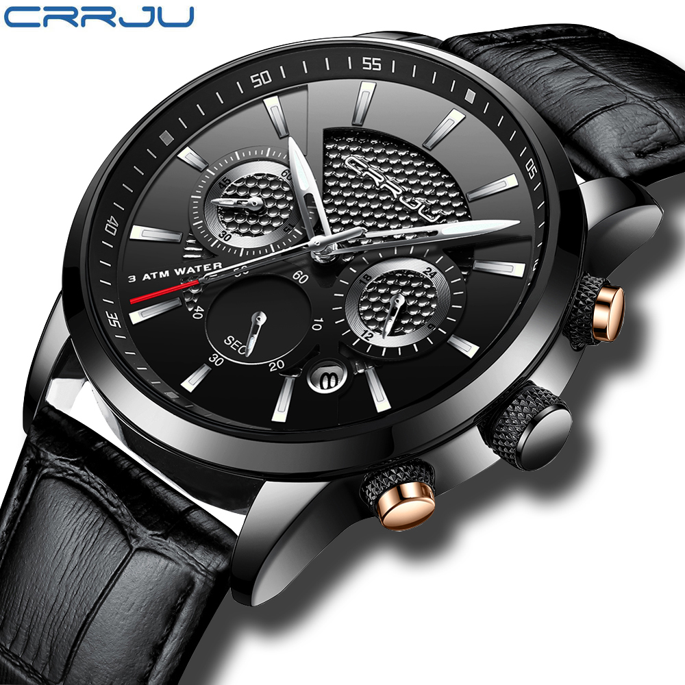 CRRJU, nuevos relojes de moda para hombre, relojes de pulsera analógicos de cuarzo, cronógrafo resistente al agua de 30M, reloj deportivo con fecha Relojes De Correa De Cuero para hombre 12