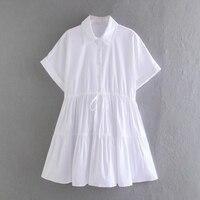 Vestido blanco con cordón de cintura corta para mujer, ropa informal holgada de manga corta para Primavera, D7335