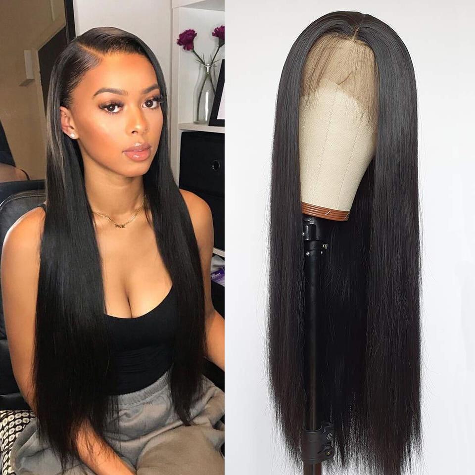 Domino cabelo em linha reta frente do laço perucas de cabelo humano para as mulheres 13x4 peruca frontal do laço brasileiro peruca de fechamento de renda reta 4x4 peruca do laço